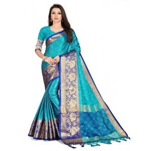 Generic Women's Cotton Silk,Jacquard,Poly Silk Saree (Blue, 5-6 Mtrs)