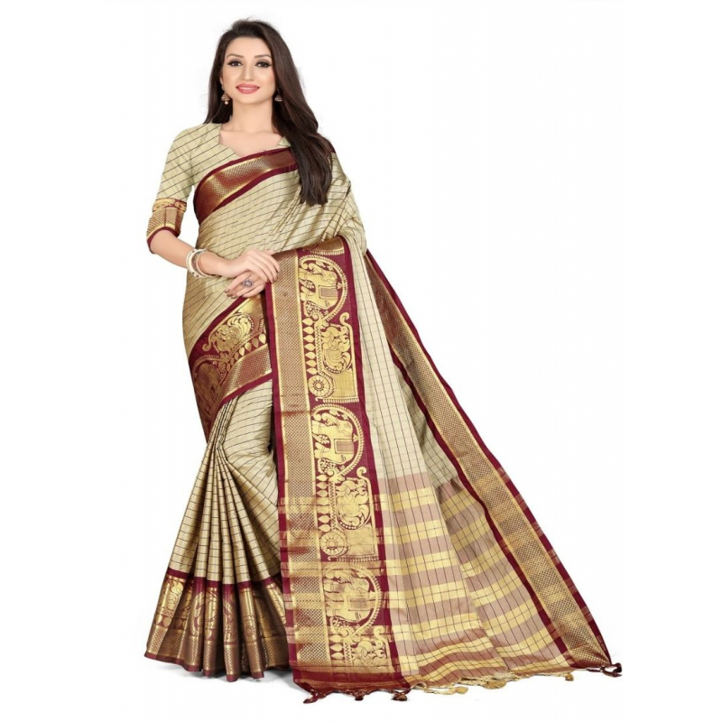 Generic Women's Cotton Silk,Jacquard,Poly Silk Saree (Beige, 5-6 Mtrs)