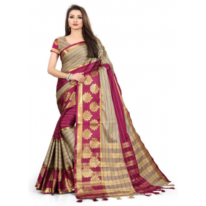Generic Women's Cotton Silk,Jacquard,Poly Silk Saree (Grey,Maroon, 5-6 Mtrs)
