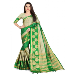 Generic Women's Cotton Silk,Jacquard,Poly Silk Saree (Grey,Green, 5-6 Mtrs)