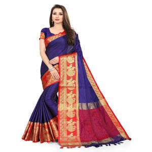 Generic Women's Cotton Silk,Jacquard,Poly Silk Saree (Dark Blue, 5-6 Mtrs)