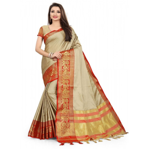 Generic Women's Cotton Silk,Jacquard,Poly Silk Saree (Cream,Red, 5-6 Mtrs)