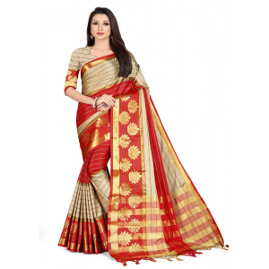 Generic Women's Cotton Silk,Jacquard,Poly Silk Saree (Grey,Red, 5-6 Mtrs)