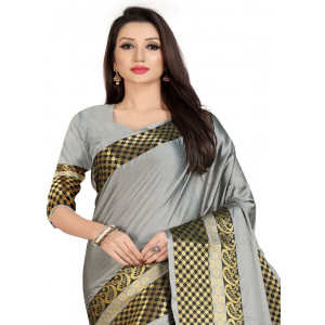 Generic Women's Cotton Silk,Jacquard,Poly Silk Saree (Grey, 5-6 Mtrs)