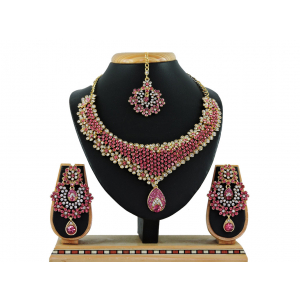 Generic Women's Alloy Necklace set (Pink)