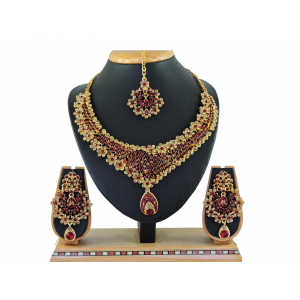 Generic Women's Alloy Necklace set (Maroon)