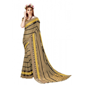 Generic Women's Cotton Art Silk Saree With Blouse (Copper, 5-6 Mtrs)
