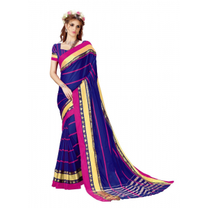 Generic Women's Cotton Art Silk Saree With Blouse (Blue, 5-6 Mtrs)