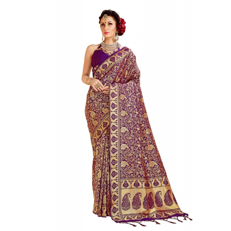 Generic Women's Tanchui Art Silk Saree With Blouse (Violet, 5-6 Mtrs)
