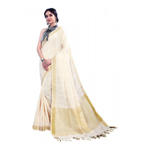 Generic Women's Linen Art Silk Saree With Blouse (Cream, 5-6 Mtrs)