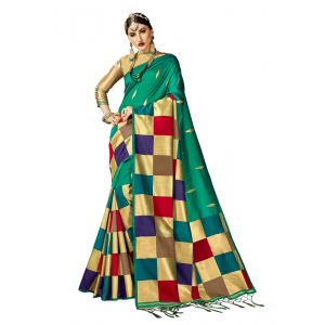 Generic Women's Kanjeevaram Art Silk Saree With Blouse (Rust, 5-6 Mtrs)