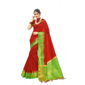 Generic Women's Cotton Art Silk Saree With Blouse (Red, 5-6 Mtrs)