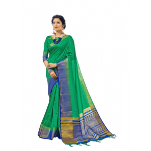 Generic Women's Cotton Art Silk Saree With Blouse (Green, 5-6 Mtrs)