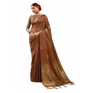 Generic Women's Kanjeevaram Art Silk Saree With Blouse (Brown, 5-6 Mtrs)