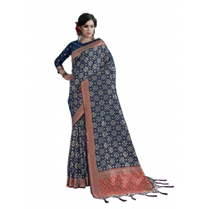 Generic Women's Tanchui Art Silk Saree With Blouse (Navy Blue, 5-6 Mtrs)