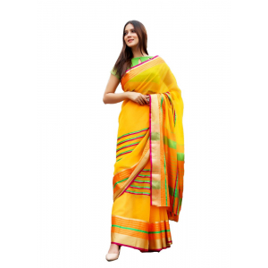 Generic Women's Supernet Art Silk Saree With Blouse (Orange, 5-6 Mtrs)