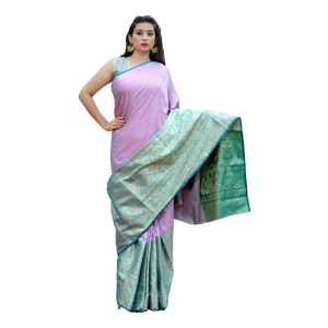 Generic Women's Tanchui Art Silk Saree With Blouse (Pink, 5-6 Mtrs)