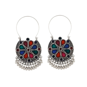 Generic Women's Silver Plated Hook Dangler Hanging Earrings-Multicolour