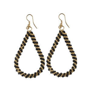 Generic Women's Wired Hook Dangler Hanging Beads Earings-Black