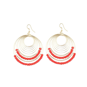 Generic Women's Alloy Hook Dangler Hanging Beads Earrings-Gold