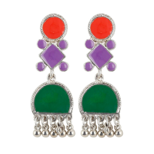 Generic Women's Alloy, silver Plated Hook Dangler Hanging Earrings-Green