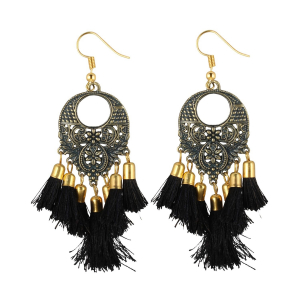 Generic Women's Gold Plated Hook Dangler Hanging Tassel Earrings-Black