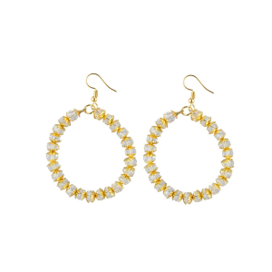 Generic Women's Alloy, Golden Crytal Hanging Earrings-Gold