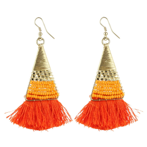 Generic Women's Alloy, Beads Hook Dangler Hanging Tassel Earrings-Multicolour