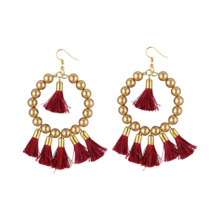 Generic Women's Alloy Hook Dangler Hanging Tassel Earrings-Gold