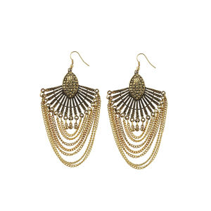 Generic Women's Gold Plated Hook Dangler Hanging Tassel Earrings-Golden