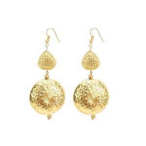 Generic Women's Gold Plated Hook Dangler Hanging Earrings-Golden