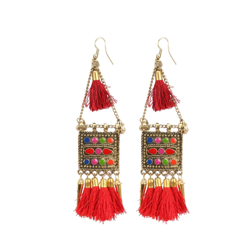 Generic Women's Oxidize Gold plated Hook Dangler Hanging Tassels Earring-Multicolour