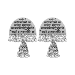 Generic Women's Silver plated Afgani Earrings-Silver