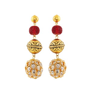 Generic Women's Gold Plated, Beads Hook Dangler Hanging Earrings-Gold