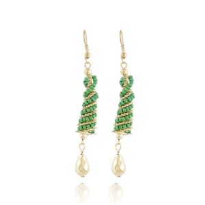 Generic Women's Alloy Hook Dangler Hanging Earrings-Green