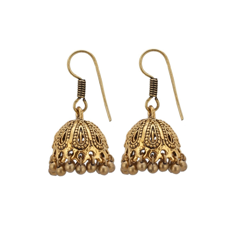 Generic Women's Alloy Hook Dangler Hanging Oxidised Jhumki Earrings-Gold