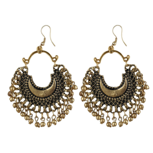 Generic Women's Alloy, Gold plated Hook Dangler Hanging Earrings-Golden