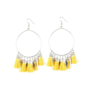 Generic Women's Alloy Hook Dangler Hanging Tassel Fashion Earrings-Yellow