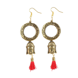 Generic Women's Gold plated Hook Dangler Hanging Tassel Fashion Earrings-Golden