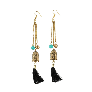 Generic Women's Golden Buddha Style Earrings-Gold