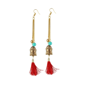 Generic Women's Gold Plated Hook Dangler Hanging Tassel Fashion Earrings-Gold