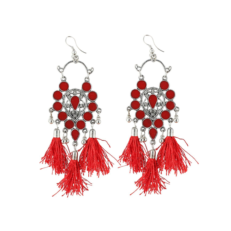 Generic Women's Alloy Afgani Tassel Earrings-Red