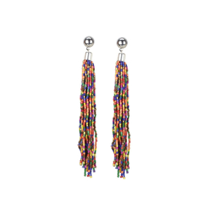 Generic Women's Alloy, Beads Hook Dangler Hanging Earrings-Multicolour