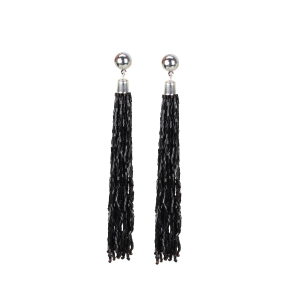 Generic Women's Alloy, Beads Hook Dangler Hanging Earrings-Black
