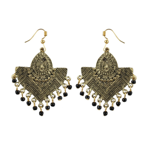 Generic Women's Gold Plated, Beads Hook Dangler Hanging Tassel Earrings-Gold