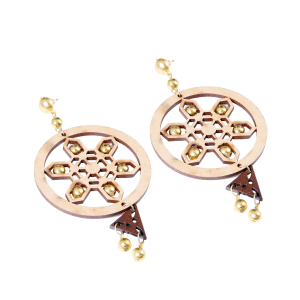 Generic Women's Alloy, Beads Hook Dangler Hanging Earrings-Brown