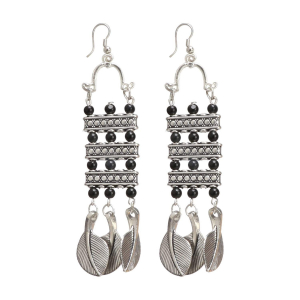 Generic Women's Oxidized Silver plated Hook Dangler Hanging Earrings-Silver
