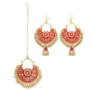 Generic Women's Gold Oxidized Earrings and  Maang Tikka-Red