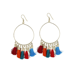 Generic Women's Alloy Hook Dangler Hanging Tassel Earrings-Multi