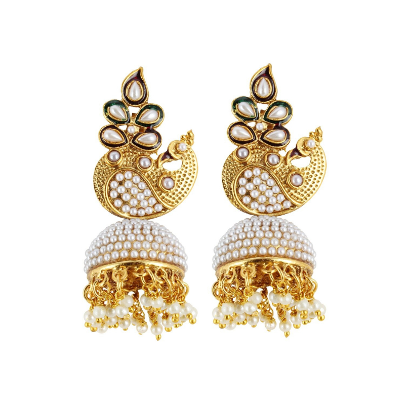 Generic Women's Stylish Pearl Hook Dangler Hanging Jhumki Earrings-Golden